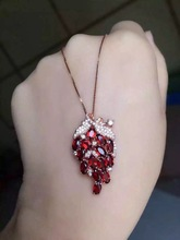 natural red garnet stone pendant S925 silver Natural gemstone Pendant Necklace trendy Luxury grape string women fine jewelry