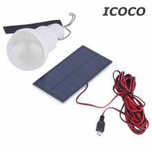 Solar Powered led lamp Outdoor/Indoor System Lighting 1 Bulb solar panel Low-power camp night travel 150Lumen 0.8w 5V(China)
