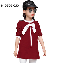 el bebe oso 2016 New Fashion Girls T Shirt Kids Baby Girls Long Style O-Neck Bow Clothes Girls Tops Clothes T Shirt XL618