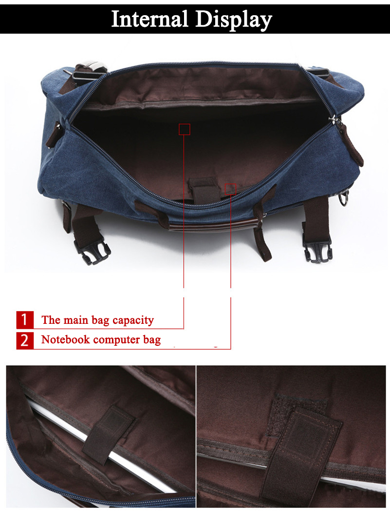 three photos showing the laptop pockets on the main compartment of a blue navy rucksack