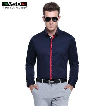2017 Mode Double Col Casual Chemises Slim Fit Manches Longues Premium Coton Marque Chemises de Haute Qualité Hommes Chemise Euro taille