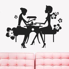 Free Shipping sex girls lady Hair Salon Nail art wall stickers glass decals for pub shop home decor 22 colors choose