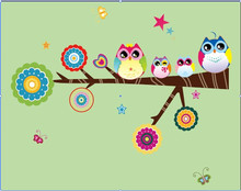 ZOOYOO Owl Tree Jungle Wall Sticker PVC Wall Decor Kids Room Decal Christmas decals