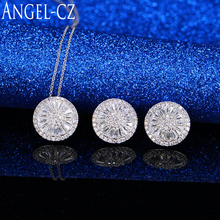 ANGELCZ Fashion African Jewellery Designs Sparkling Cubic Zirconia Stone Round Pendant Necklace Earrings Women Jewelry Set AJ039