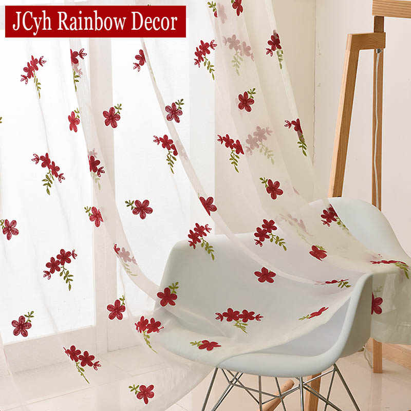 Embroidery White Tulle Curtains For Living Room Bedroom Red Flower Kitchen Curtains Organza Window Voile Sheer Curtains Drapes