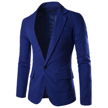 Men Blazer Slim Fit Long Sleeve Single Button Solid Color Suit Coat Men Blazer Jacket 2016 Spring/Autumn Casual Blazer Masculino