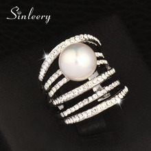 Luxury Yellow Gold /Silver Color Hollow Multilayer Cubic Zircon &Simulated Pearl Big Rings For Women(China)
