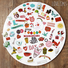 NEW! 72pcs/pack Love Series Bronzing Retro Decorative Pre Die Cut Stickers for DIY Scrapbooking Planner/Card Making Craft