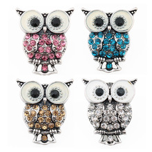 10pcs/lot 2016 Hot sale Snap Interchangeable Buttons Jewelry Accessory Xinnver Snap Owl Button For Bracelet Free Shipping ZA330