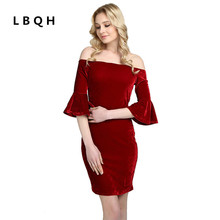 LBQH 2017 new ladies fashion autumn sexy nightclub brand dress high quality knitted women's pure color cold shoulder top dress(China)
