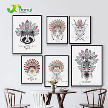 Nordic Indian Animals Head Hippie Fashion Deer Horse Zebra Art Print Poster Wall Pictures Canvas Print Unframed BEI0005(China)