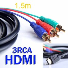 AC T 5FT 1.5M HDMI to 3 RCA Video AV TV Composite Adapter Converter 3RCA RGB Cable For XBOX 360 for PS3 4 HDTV 1080