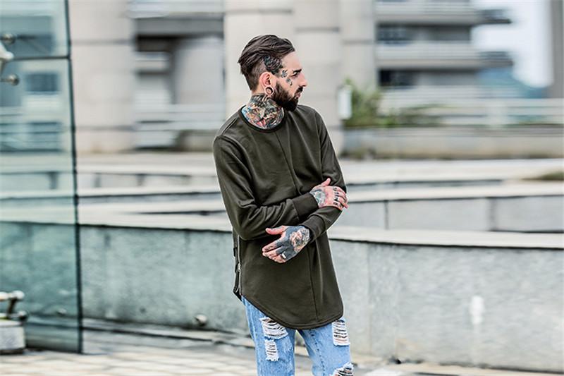 Cross Printed Hip Hop Sweatshirt Men 17Spring Streetwear Curved Hem Side Zipper Plain Mens Sweatshirts and Hoodies Man Clothes 10