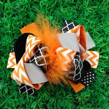 free shipping  Girl's  Large Boutique hollaween feather hair bows  Accessories Ribbon Sculpture Hair Clippie fashion