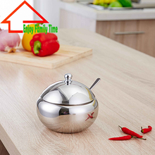 Single Stainless Steel Cooking Tools Salt Container Spoon High Quality Special Spice Container With Cover New Design Sugar Bowl(China)