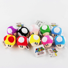 Super Mario Bros Stuffed Dolls Toad Mushroom Plush Toys 6CM Plush Toys Keychain Cellphone Strap(China)
