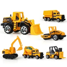6 PCS/Set engineering car tractor toy model farm vehicle belt boy toy car model children's Day Xmas gifts j2(China)