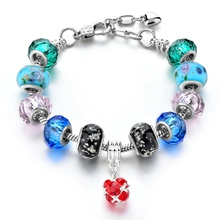 New Colorful Crystal Heart Charm Bracelets & Bangles Gold Bracelets for Women Jewellery Pulseira Feminina(China)