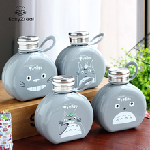 EasyZreal 2017New Flat Paper Cartoon water Bottle Totoro Kettle Students coffee glass bottle Creative Portable Plastic Gifts