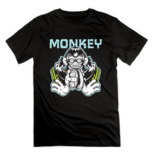 mens designer clothes fake designer clothes mad cymbal monkey longline shirt slim fit o neck tshirt(China)