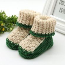 New Baby Shoes Infants Toddler Crochet Knit Fleece Boots Girl Boy Wool Snow Crib Shoes Winter Warm Booties