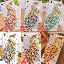 Bling Rhinestone Case Cover,Handmade 3D Cute Glitter Peacock Phone Case Cover For iPhone Samsung