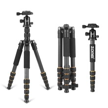 Professional Q666C portable travel carbon fiber tripod Monopod&Ball head for DSLR SLR digital camera