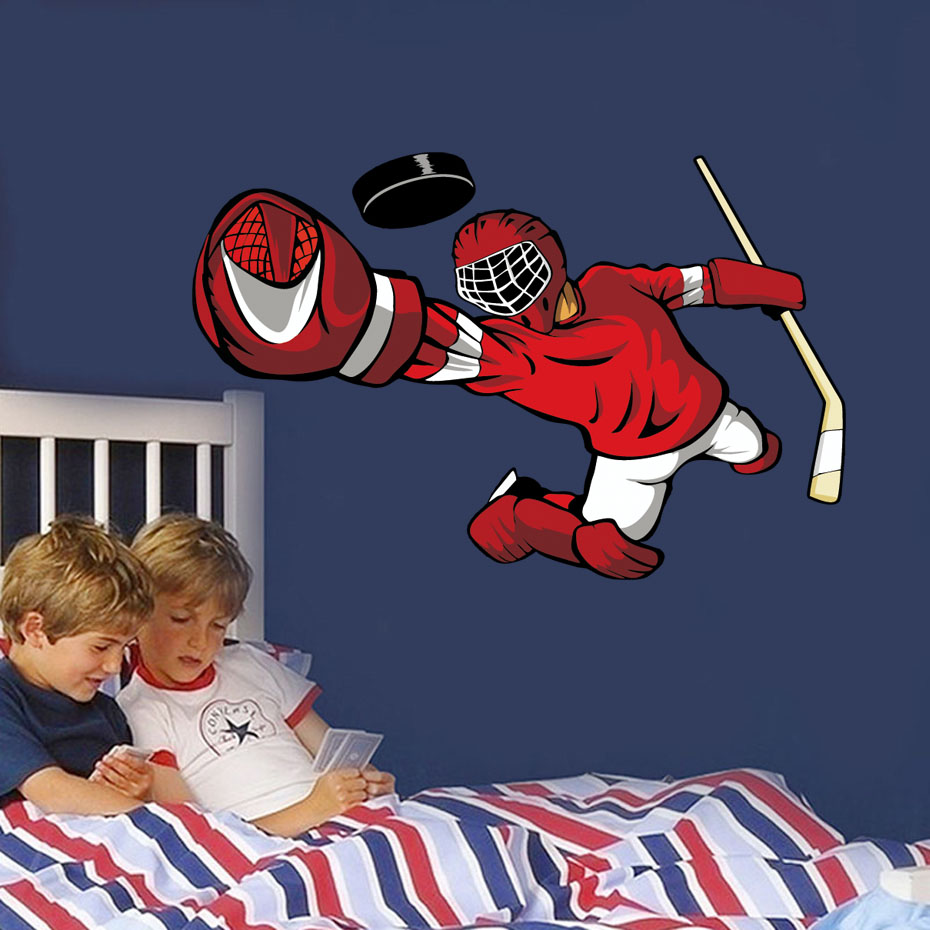 Hockey Player Wall Art Sticker 3d Sports Poster Boys Bedroom Hockey Wall Decal For Kids Room Home Decoration (5)
