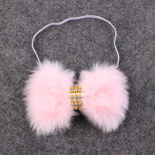 1Pc Newborn Girl Boy Rabbit Rhinestone Bowknot faux fur Headband Hair Accessories(China)
