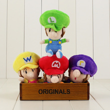 4pcs/set Classic Game Super Mario Bros Plush Dolls Super Mario Luigi Waluigi Wario Cotton Stuffed Cartoon Toy Free Shipping(China)