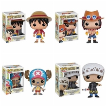 10cm Anime One Piece Figure Toy Funko POP Monkey D Luffy Ace Chopper Law Q Version Model Doll