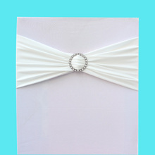 "10pcs/lot White 6""*28"" Stretch Chair Cover Lycra Spandex With Diamond Ring Buckle Replace Chair Sash Bow Wedding Party Decor(China)"
