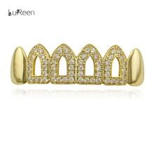 Лорин новый золотой зубы грили Rhinstone Hollow Топ Нижняя Bling зубы хип-хоп грили зуб шапки Косплэй зубы ювелирные изделия LD0124(China)