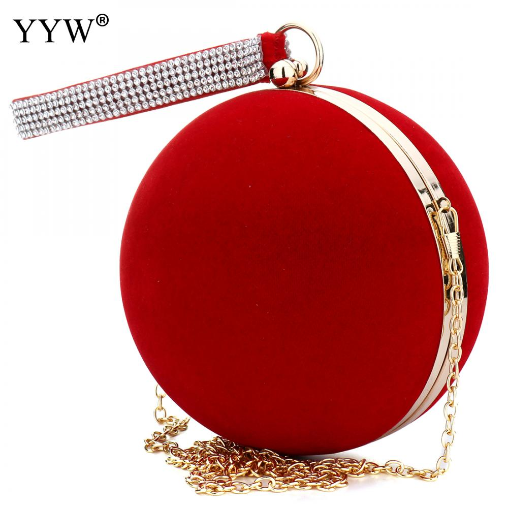 YYW Small Purse Clutch-Bag Chain-Shoulder Evening-Bags Lady Handbag Velvet Iron-On Red title=