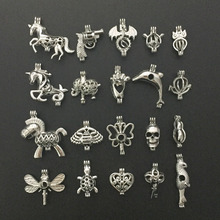 20pcs Silver Tone Mixed Style Animal Shape Beads Pearl Cage Pendant Locket Aromatherapy Jewelry Necklace bracelet Making Gift(China)
