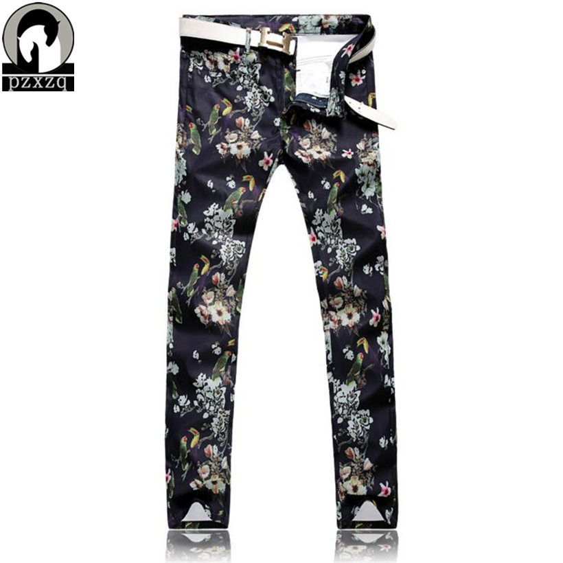 Mens Black white parrot print  pattern street fashion jeans Casual slim fit fancy painted denim pants Long trousers Plus sizeÎäåæäà è àêñåññóàðû<br><br>