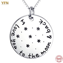 YFN 925 Sterling Silver Round Coin Pendant Necklace I Love You To The Moon And Back Message colliers femme bijoux Wholesale(China)