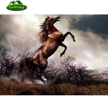 Brown Horse Diy Diamond Painting DMC Cross Stitch Crystal Rhinestones Full Diamond Sets Unfinished Diamond Embroidery Animals(China)