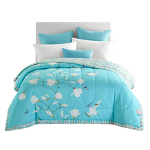 ARNIGU 100% Cotton Bedspread fresh Pastoral Flower & bird printing Throw Single Double bed Summer Comforter quilted Duvet Quilt(China)
