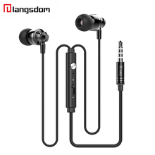 10PCS Langsdom M300 Metal Earphone In-ear Wired Earphones With Microphone Stereo Earbuds headsets For Mobile Phones(China)