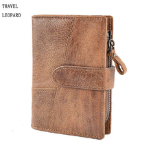 TRAVEL LEOPARD carteira masculina clutch bags men genuine Leather wallets fashion bolsa purse bolsos portefeuille billetera man(China)