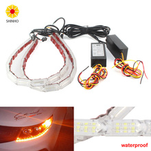Waterproof Car Flexible White Yellow Switchback LED Daytime Running Run Fire light Sequential Strip DRL Flow Turn Signal Lights
