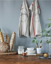 Pure linen English striped tea towel napkins