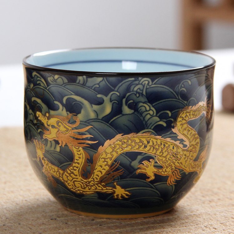 China Kung Fu Ceramic cup, Chinese Royal dragon pattern tea cup, Chinese style porcelain tea set coffee cups(China)