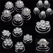 LNRRABC Fashion 12Pcs Women   Simulated Pearl Crystal Scrunchie Twist Hair pins Ornament Wedding Party Hair Accessories