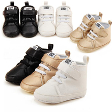 Infant Shoes Boys Kids First Walkers PU Leather Toddler Bebe Crib Spring Autumn High Top Sneakers Pram Lace-Up Ankle Boots