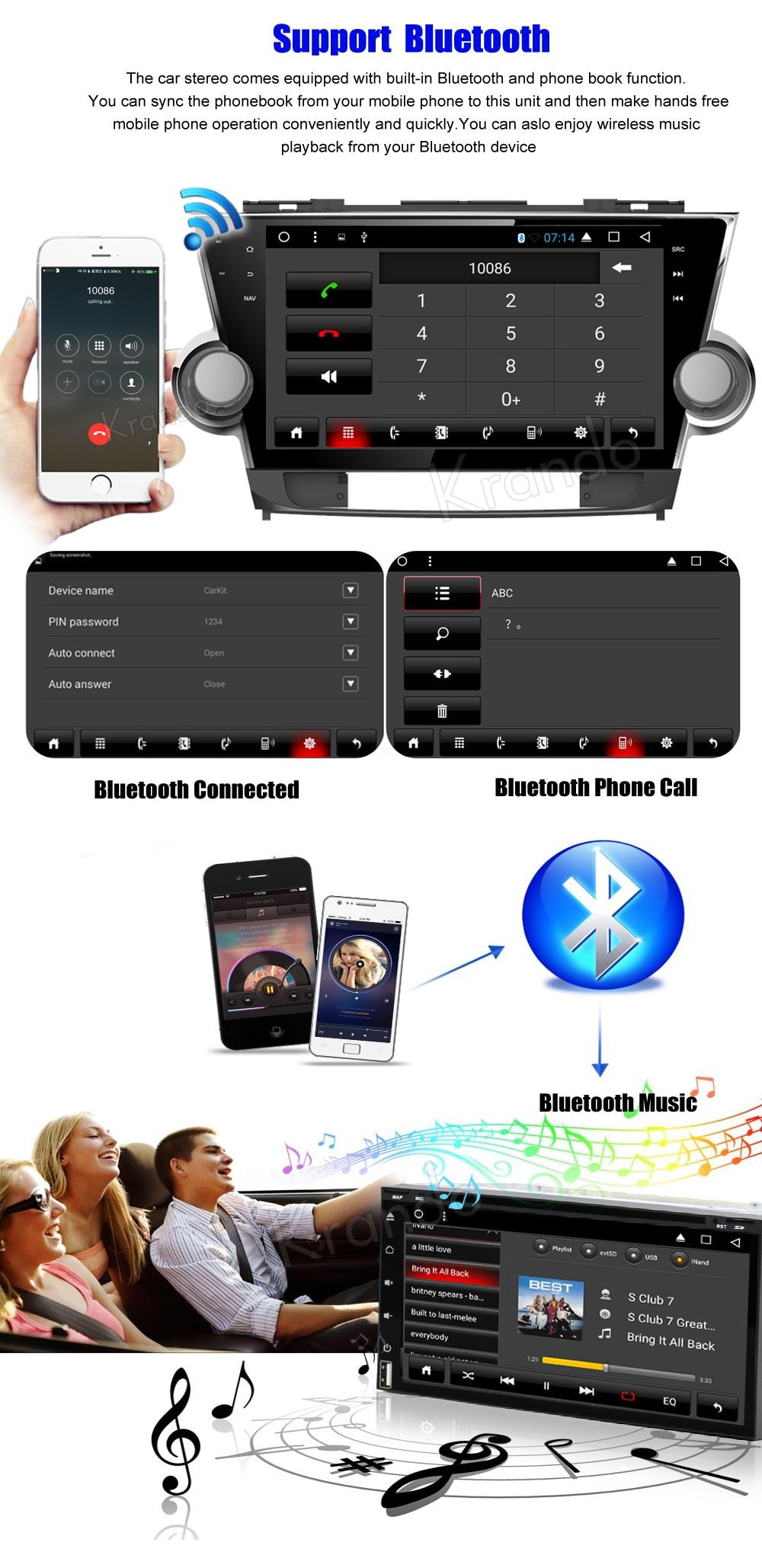 Krando toyota highlander Android car radio gps navigation multimedia system (3)