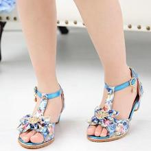 HaoChengJiaDe Girls Fish Mouth Sandals Crystal Bow Shiny High Heels Princess Shoes Hot Sale New Children's  High Heel Shoes Kids