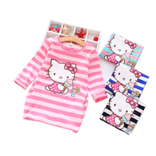 Spring Autumn Girls Dress Hello Kitty Cartoon Kids Dresses For Girl Clothes 2-8Y Children Vestidos Costume Roupas Infantis(China)