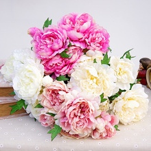 5 heads Artificial peony 1 Bouquet silk wedding flowers Home Party Hotel Decoration centerpiece peony flower(China)